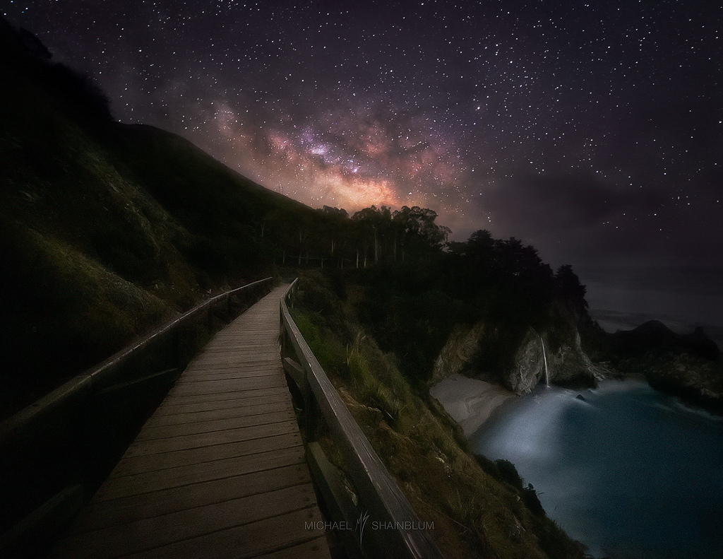 Milky Way Waterfall Big Sur Night Sky