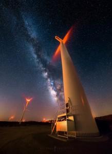 Wind Turbine Milky Way Night Sky