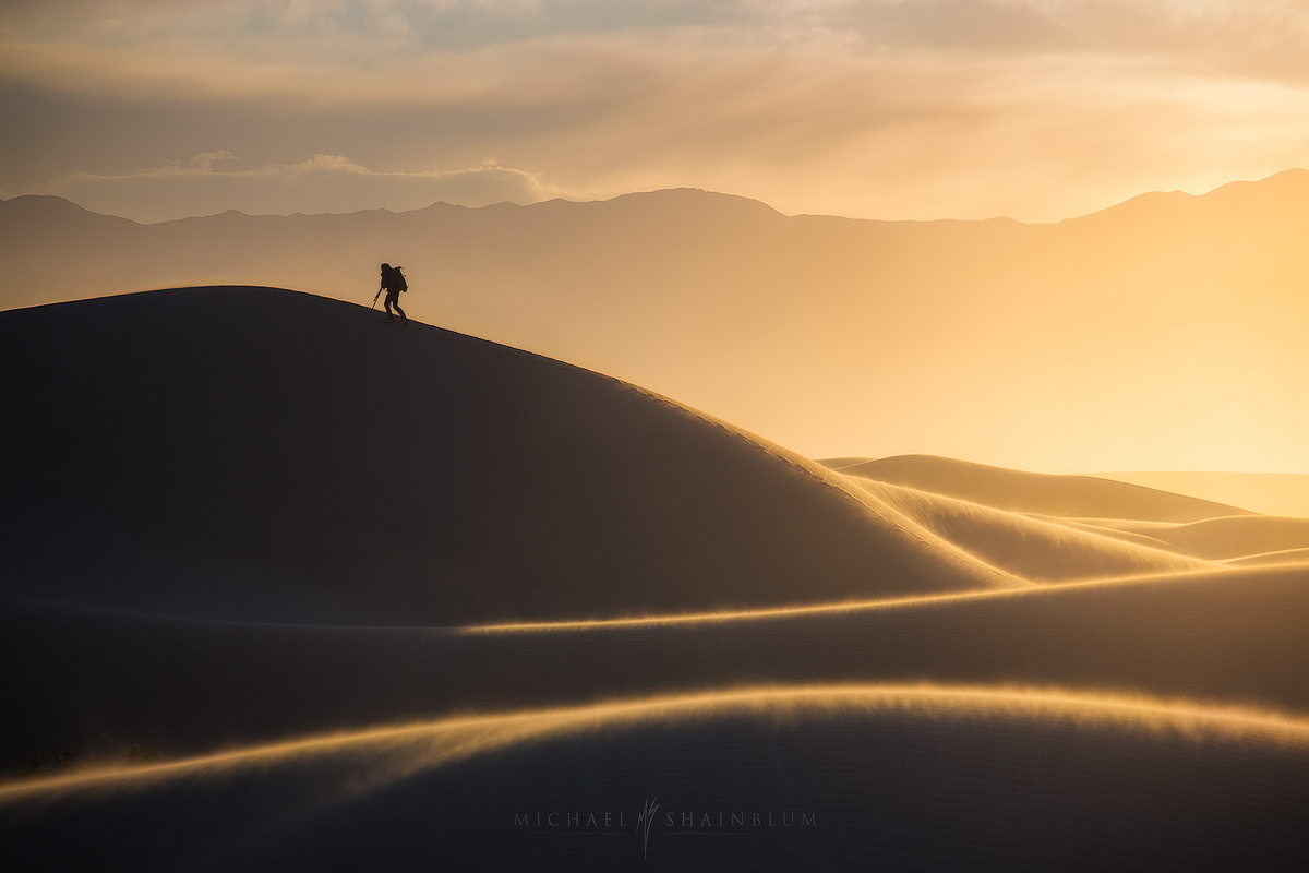 Death Valley Sand Dune Sunrise Hiker