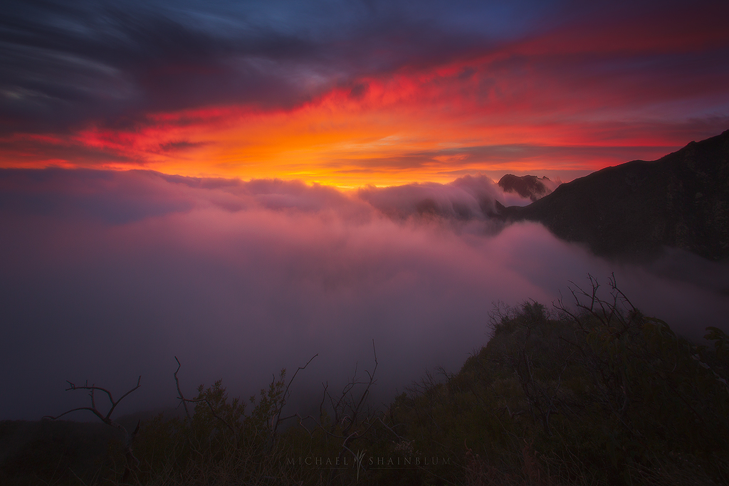 Fog Sunset Clouds Mountain