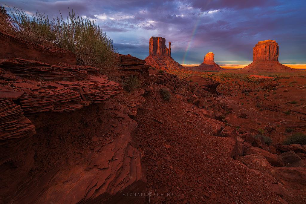 Monument Valley Sunset Rainbow Mittens