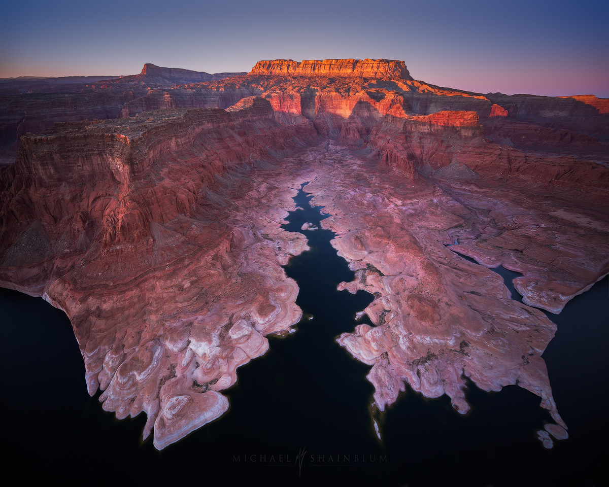 Aerial landscape photograph from lake powell Arizona.