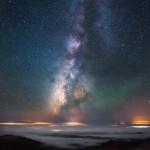 Milky Way Fog Valley Mountain Night Sky