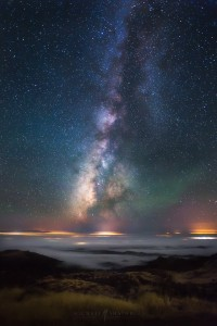 Milky Way Fog Valley Mountain Night Sky