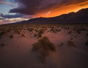Lightning Desert Mountain Sunset