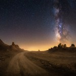 Milky Way Night Sky Road Trona Pinnacles