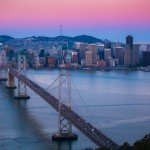 San Francisco Bay Bridge Aerial Sunrise City