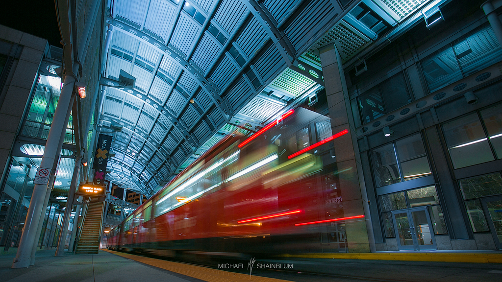 San Diego Train Station Light Trails