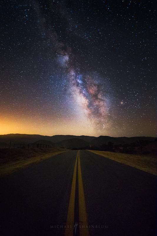 Milky Way Road California Night Sky