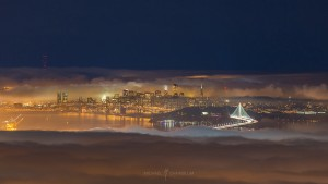 New Bay Bridge San Francisco City Fog Night