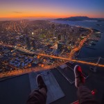 Aerial POV San Francisco Sunset