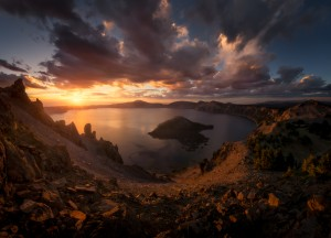 Crater Lake in Oregon during sunrise.