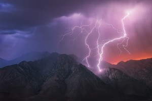Lightning over Death Valley in California