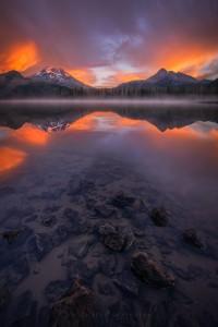 Mountain Reflection Misty Lake Sunrise Oregon