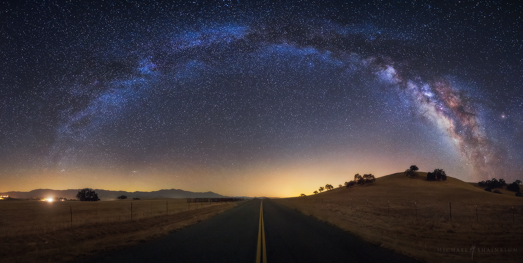Milky Way Road Night Sky