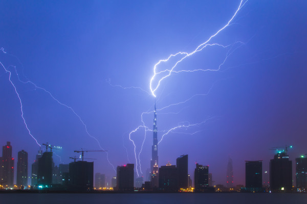The Burj Khalifa in Dubai being struck by lightning.