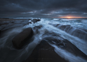 Stormy sunset at La Jolla Coves in San Diego California.