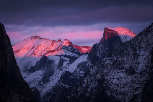 The last light on Half Dome during sunset in Yosemite.