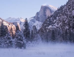 Winter Yosemite during sunrise.