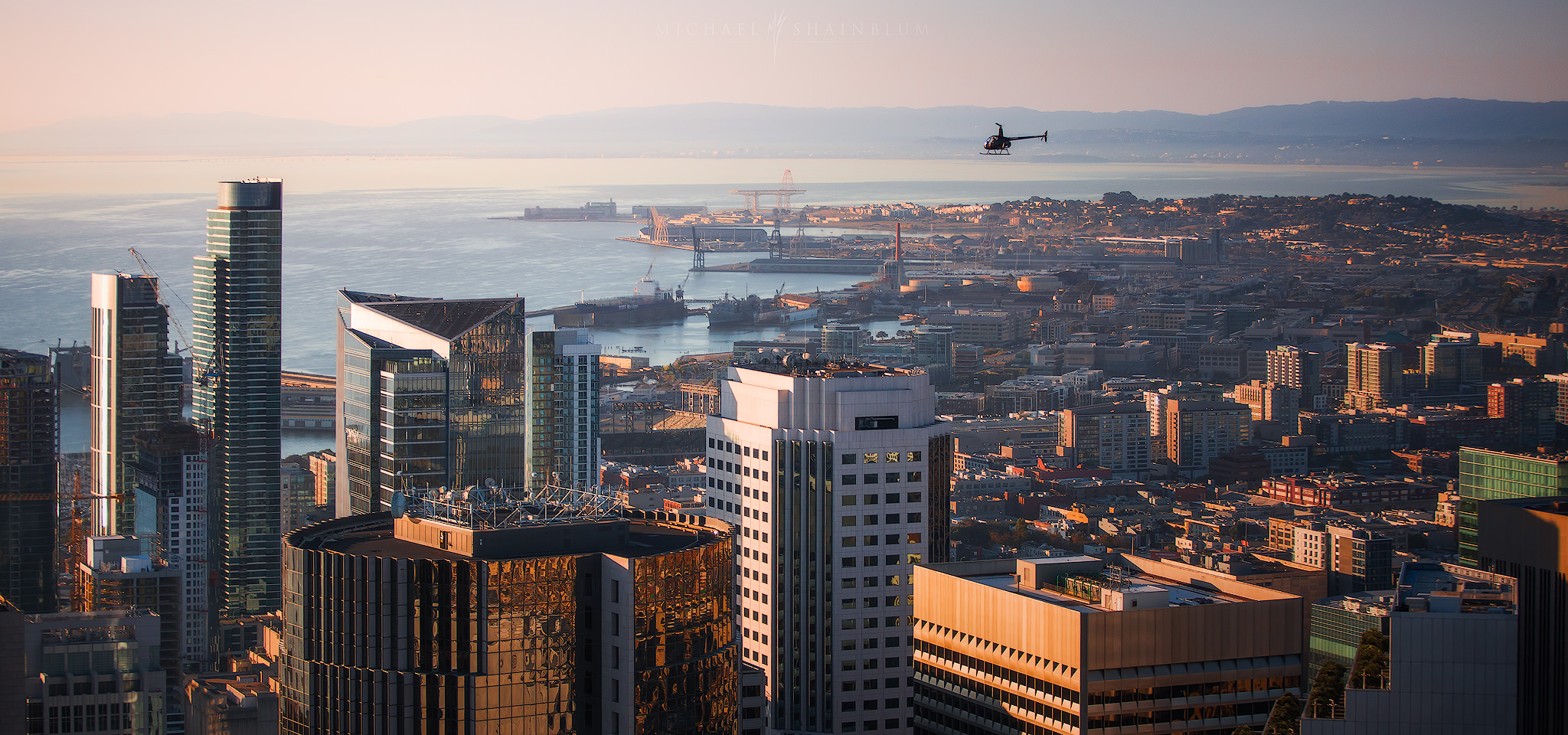 Aerial video licensing, aerial film San Francisco helicopter
