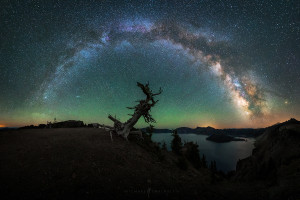 Crater Lake Milky Way Panorama