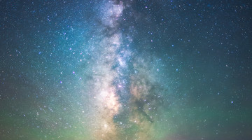 california night sky, milky way over the fog.