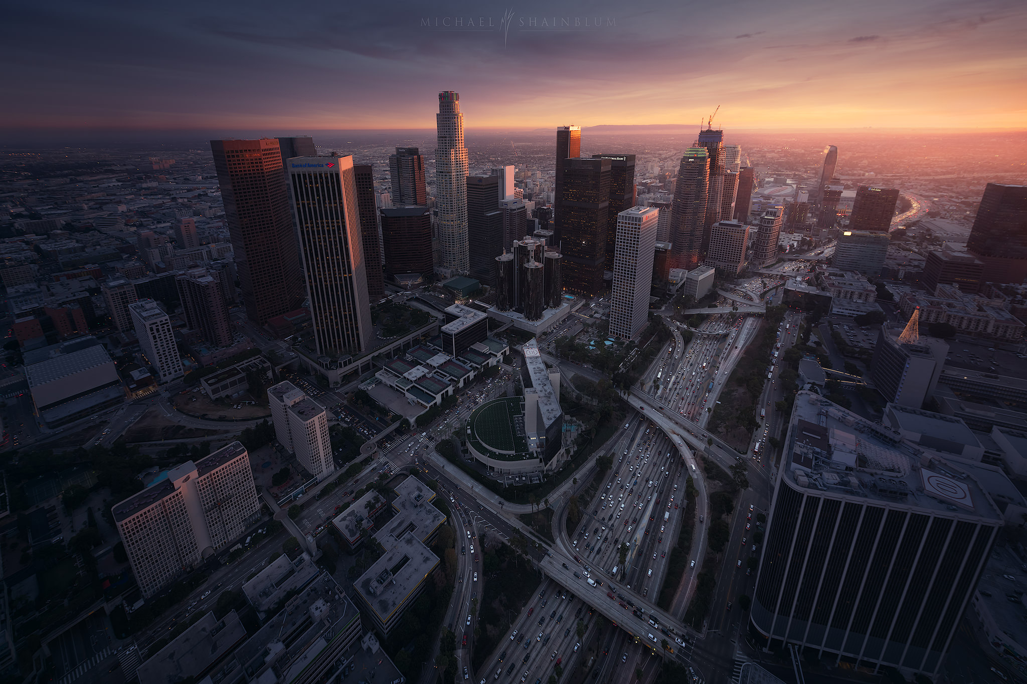 Downtown Los Angeles aerial at sunset.