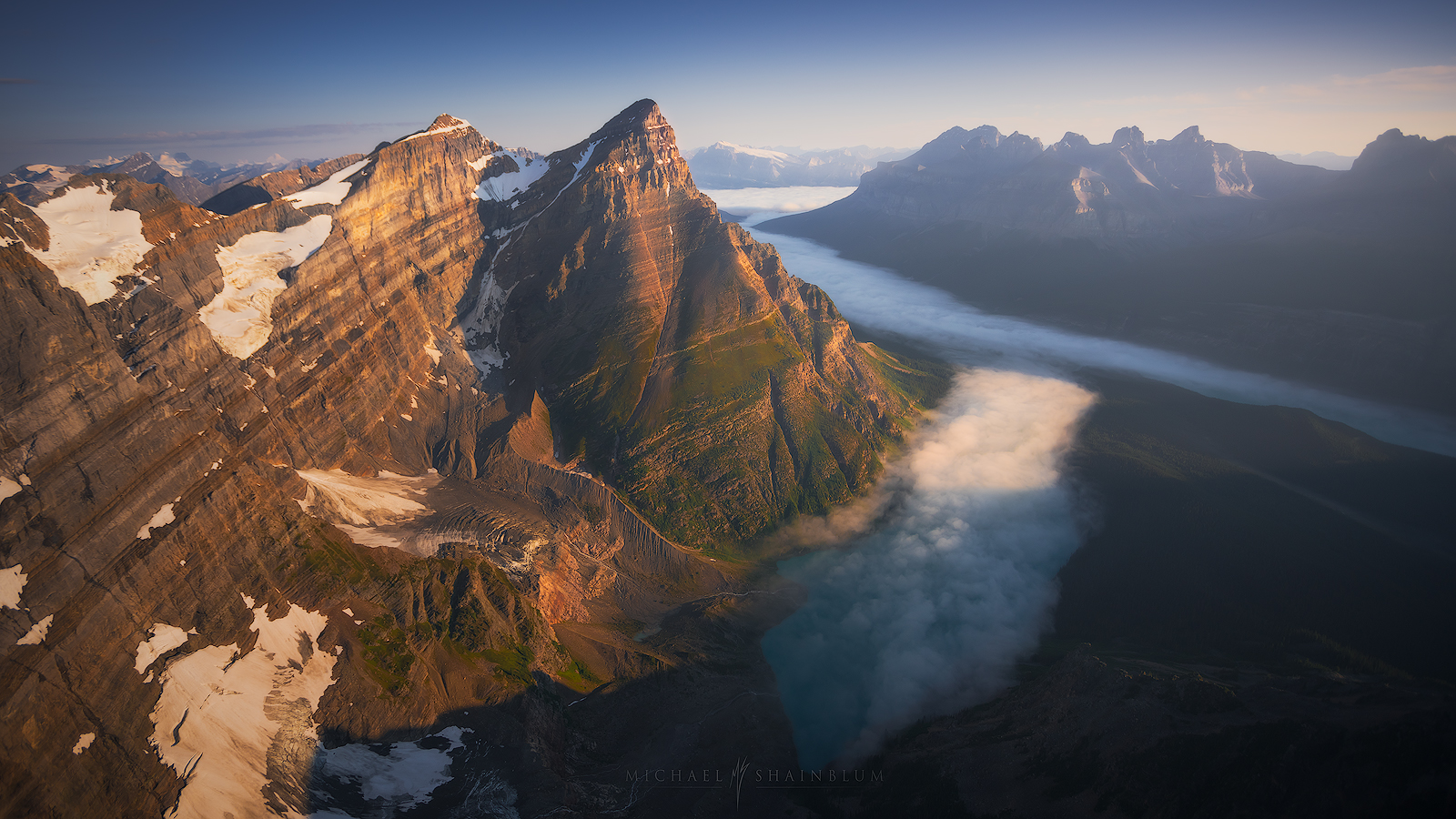 Canada aerial photography, mountains at sunrise Banff National Park.