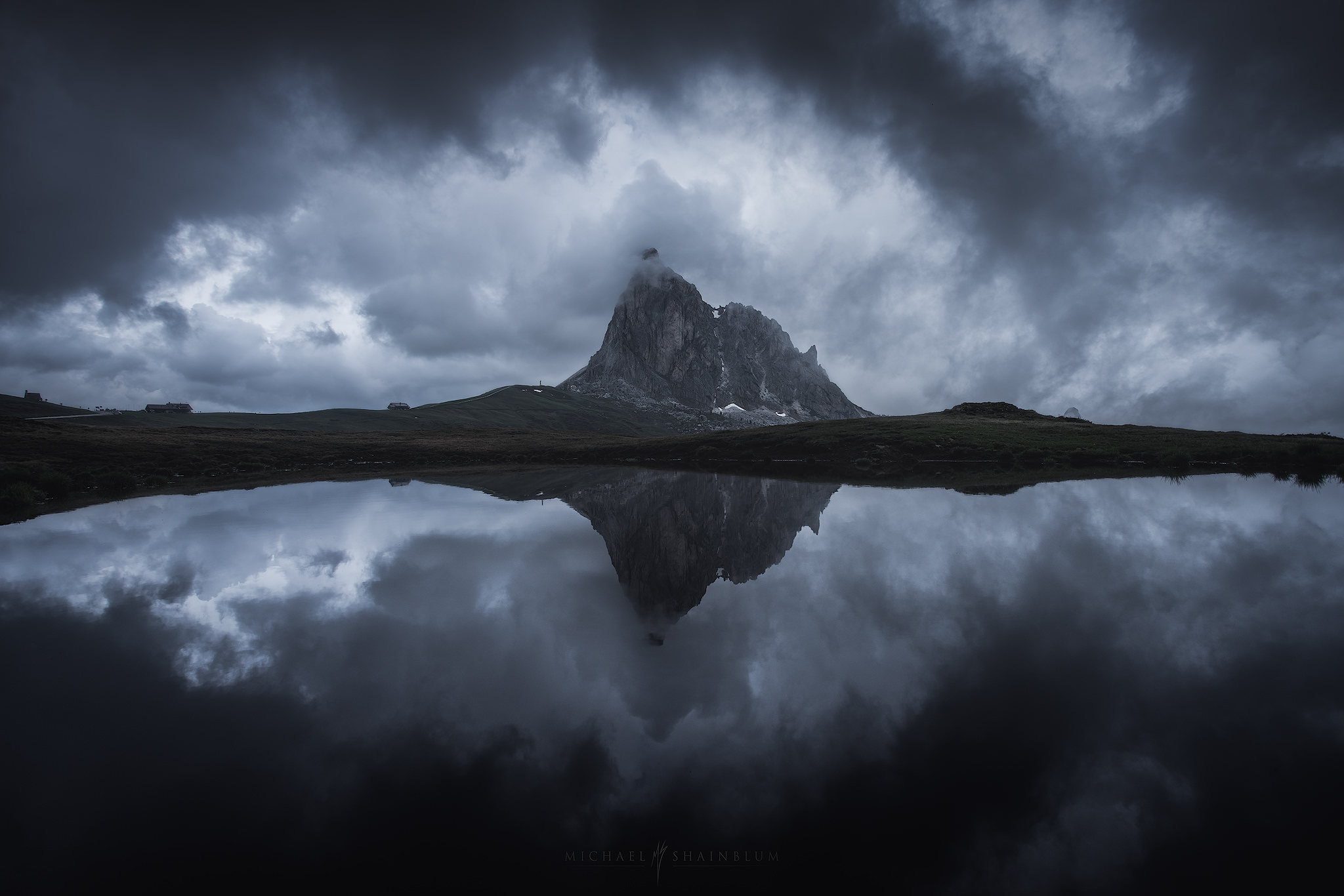 Landscape photography in the Dolomites. Stormy mountain, Passo Giau.