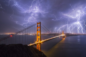 San Francisco Lightning, Golden Gate Bridge Photography.