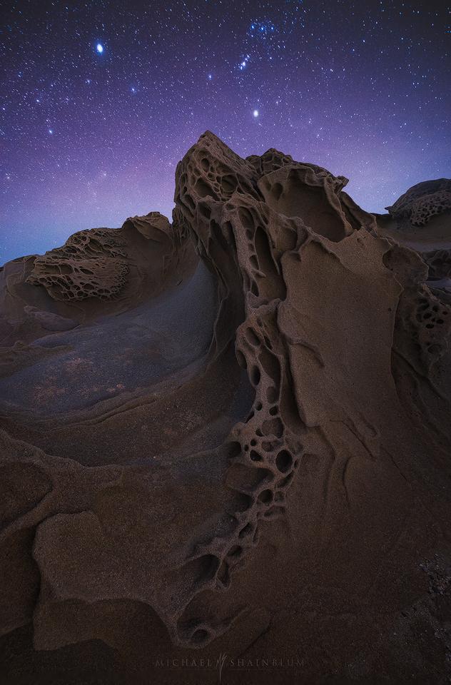 Coast Rock Formation Stars Night Sky