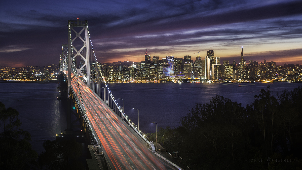 The Bay Bridge and San Francisco taken during the Superbowl 2016.
