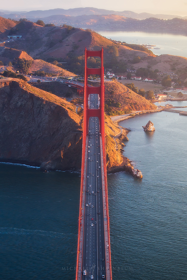 San Francisco Aerial Golden Gate Bridge Sunrise