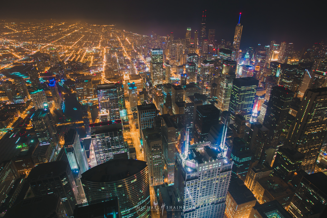 Chicago City Skyline Night