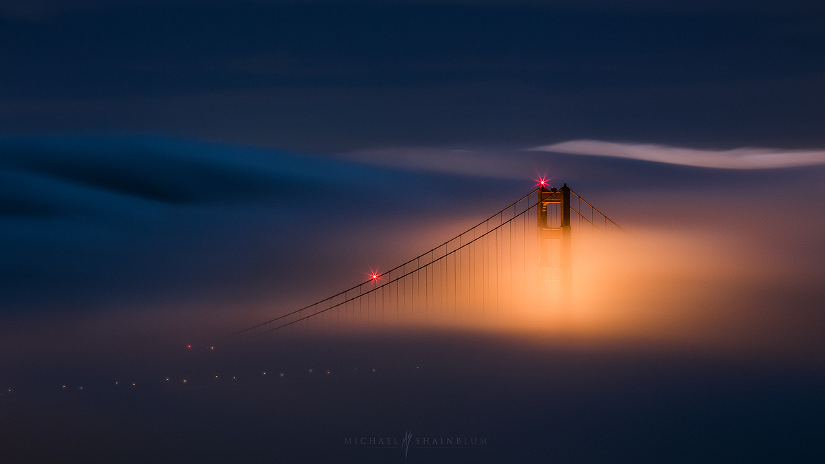 Golden Gate Bridge Fog San Francisco Night