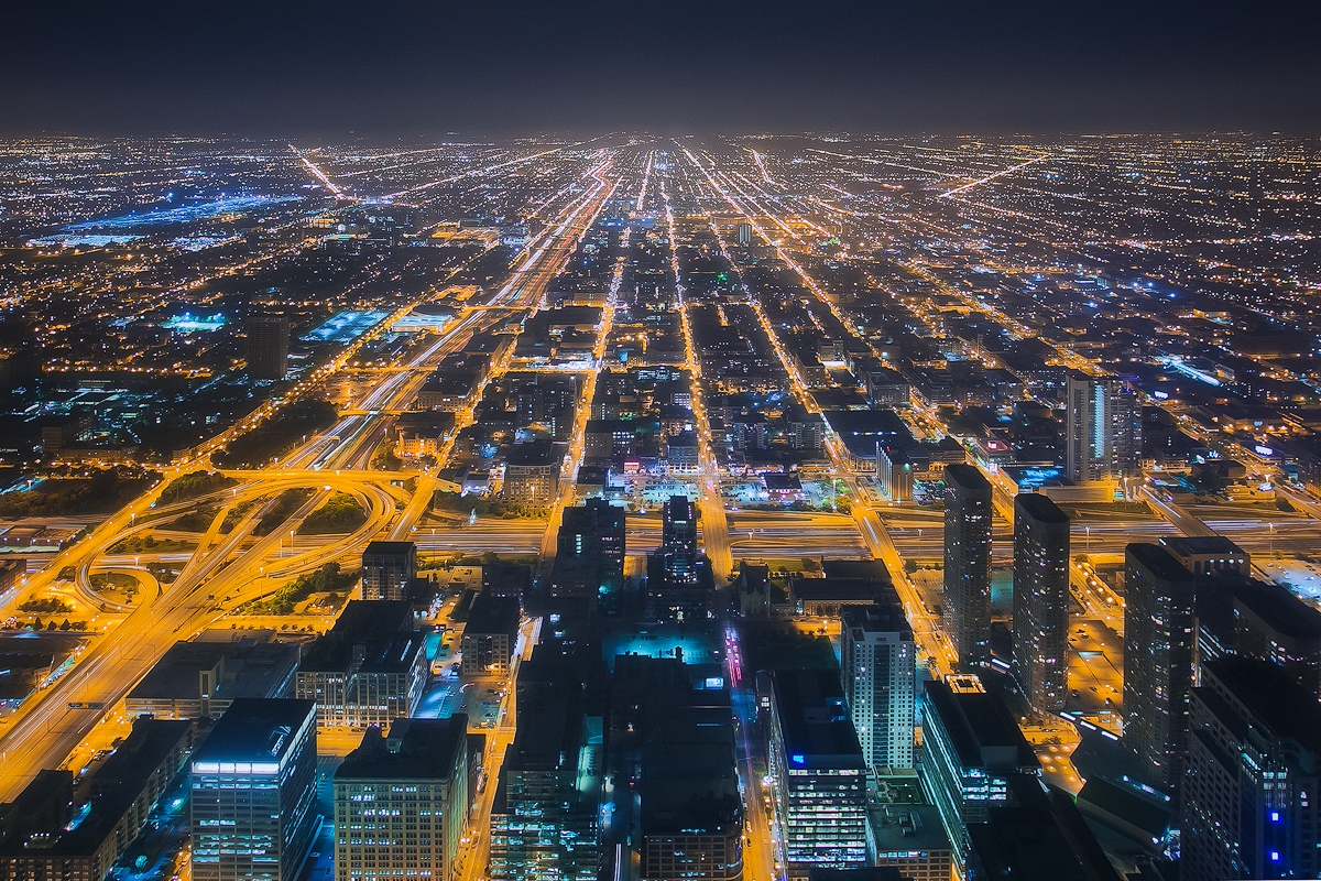 Chicago Road Veins City Night