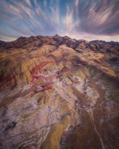 Painted hills in Oregon from above.