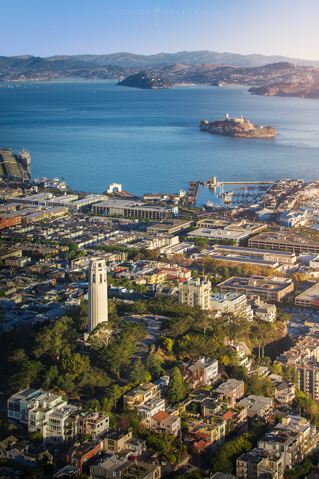 Coit Tower Alcatraz Aerial San Francisco