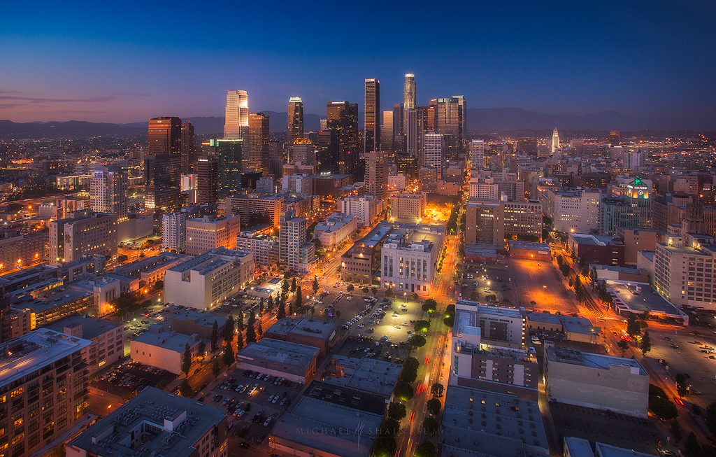 Downtown Los Angeles Skyline City Night