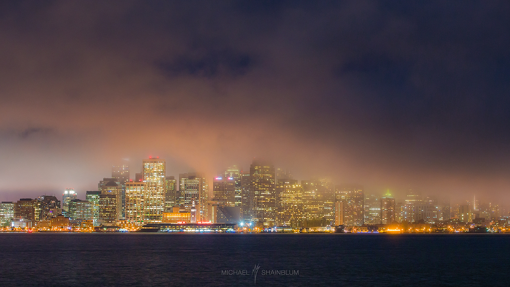 Fog Night Skyline City San Francisco