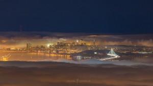 New Bay Bridge San Francisco City Fog Night