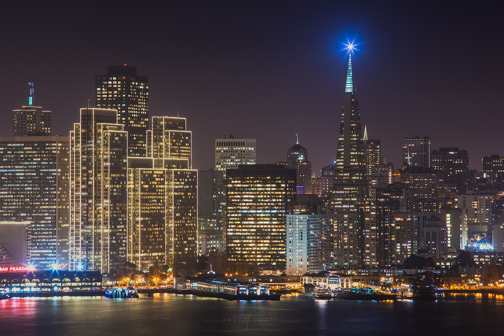 San Francisco Skyline City Transamerica Night