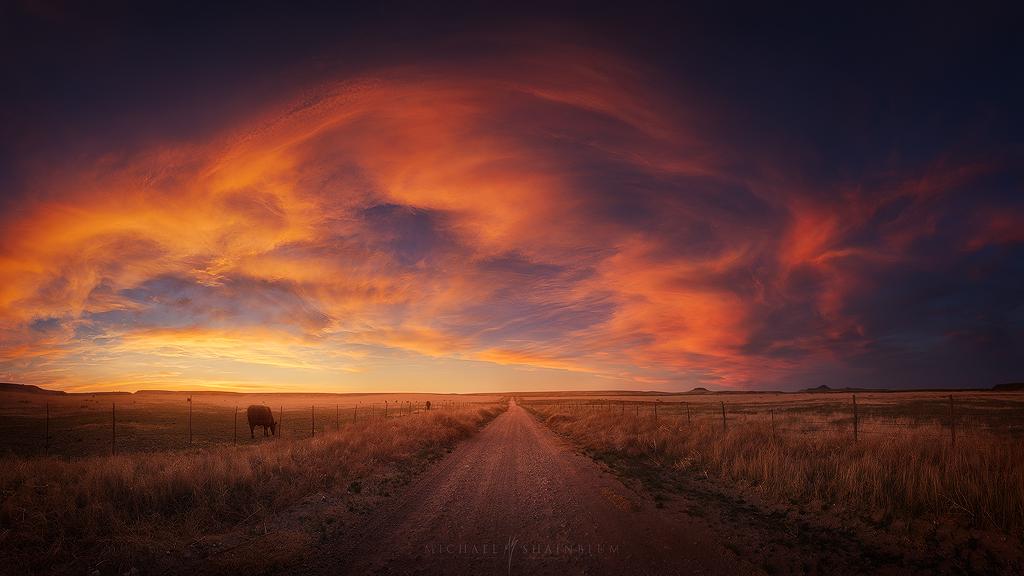 Sunset Panorama Road