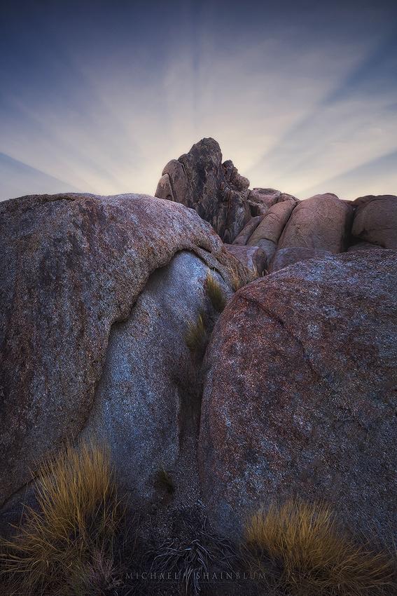 Rock Light Rays Sunset Alabama Hills