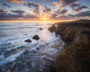 Davenport Cliffs during sunset in California.