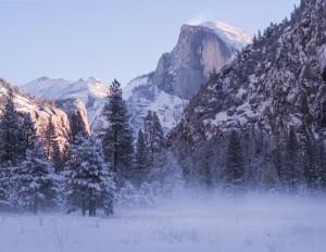 Winter Yosemite during sunrise.