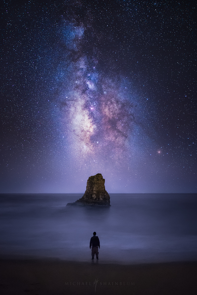 A self portrait with the Milky Way Galaxy in Davenport California.