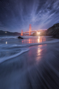 Golden Gate Bridge Twilight Beach