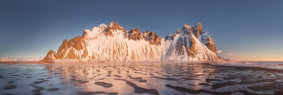 Vesturhorn Iceland Aerial at sunrise.