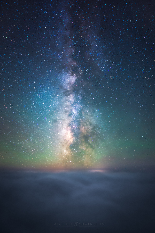 california night sky, milky way over the fog.